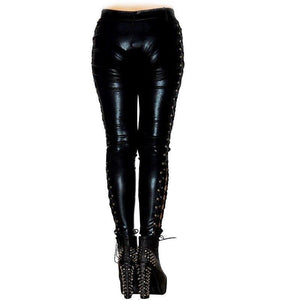 Faux Leather Gothic Steampunk Rock Leggings Stretch Heavy Metal Wetlook Bandage Pants