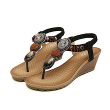 Load image into Gallery viewer, Bohemian Bead Clip Toe Elastic Wedge Heel Beach Flip Flops Sandals