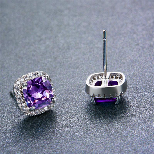 Sterling Silver Filled Colorful Square Stud Earrings For Women