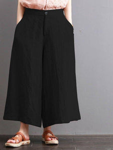 Cotton and Hemp Women's Wear Loose Casual Trousers Semi-loose Waist Retro Broad-legged Trousers Show Thin Flax