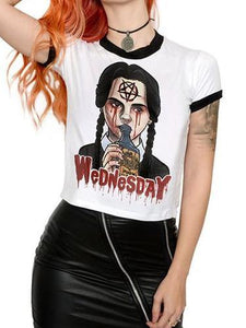 Summer Gothic Chic Plus Size White Halloween Straight Letter Print Harajuku Female T-shirt