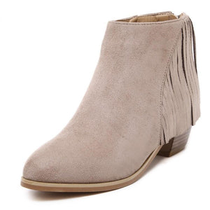 Thick Low Heel Tassel Ankle Short Boots
