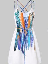 Load image into Gallery viewer, Women Casual Printed Feathers Pattern Dress Cami Strap Loose Sashes fashion Mini dress women