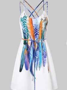 Women Casual Printed Feathers Pattern Dress Cami Strap Loose Sashes fashion Mini dress women