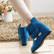 Load image into Gallery viewer, Ankle Metal Butterfly Knot Heel Increasing Slip On Boots
