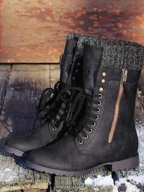 Women's Vintage Knitting Boots Mid Calf Boots