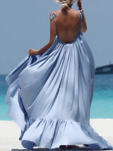 Load image into Gallery viewer, Spaghetti Strap Plain Vacation Solid Color Maxi Beach Dress