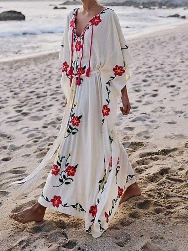 Boho Floral Embroidered V-neck Tassel Batwing Long Sleeve Maxi Kaftans Dress
