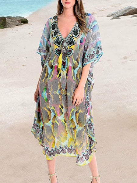 New Printed Bikini Cover Up Women  Summer Beach Tunic Dress Beachwear