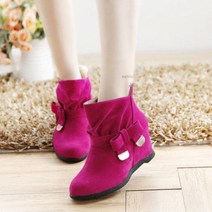 Ankle Metal Butterfly Knot Heel Increasing Slip On Boots