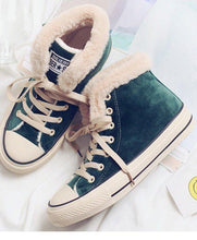 Load image into Gallery viewer, Winter Solid Color Fleece Lined Lace-up Suede Shoes