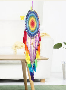 Handmade Colorful Feathers Long Dream Catcher Wall Decoration