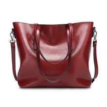 Load image into Gallery viewer, Vintage Oil PU Leather Tote Handbag Shoulder Bag Capacity Big Shopping Tote Crossbody Bags For Women