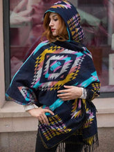 Load image into Gallery viewer, Autumn And Winter Vintage Bohemian National Style Imitation Wool Thickening Warm Hooded Cloak Shawl