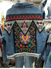 Load image into Gallery viewer, Heavy Industry Embroidery National Style Retro Old Loose Lapel Holiday Long Sleeve Denim Coat
