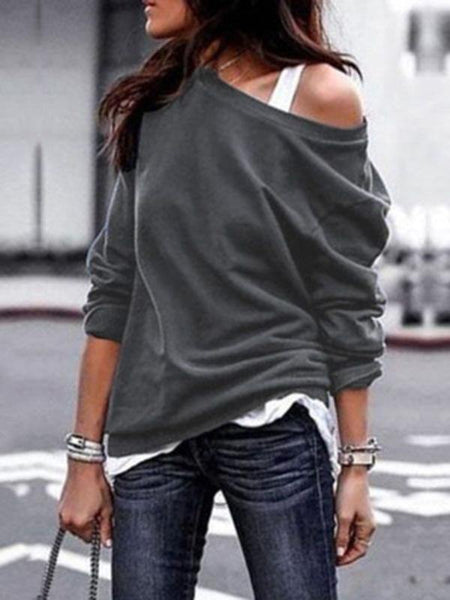 Casual Long Sleeves Solid Color Blouses Shirts Tops