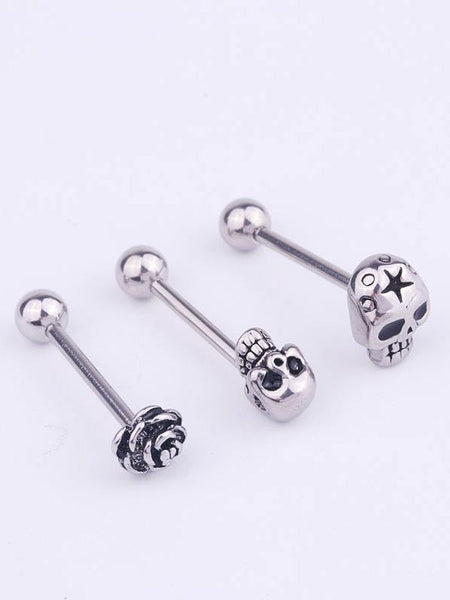 3pcs Stainless Steel Tongue Rings Body Piercing Jewelry Tounge Bars bell piercing