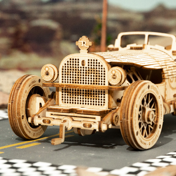 Wooden 3D assembled creative DIY puzzle - Grand Prix Car