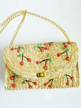 Load image into Gallery viewer, Bohemia Vacation Beach Bag Hand Embroidered Cherry Straw Woven Bag Diagonal Bag