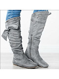 Load image into Gallery viewer, Plain Flat Velvet Round Toe Date Outdoor Thigh High Flat Boots