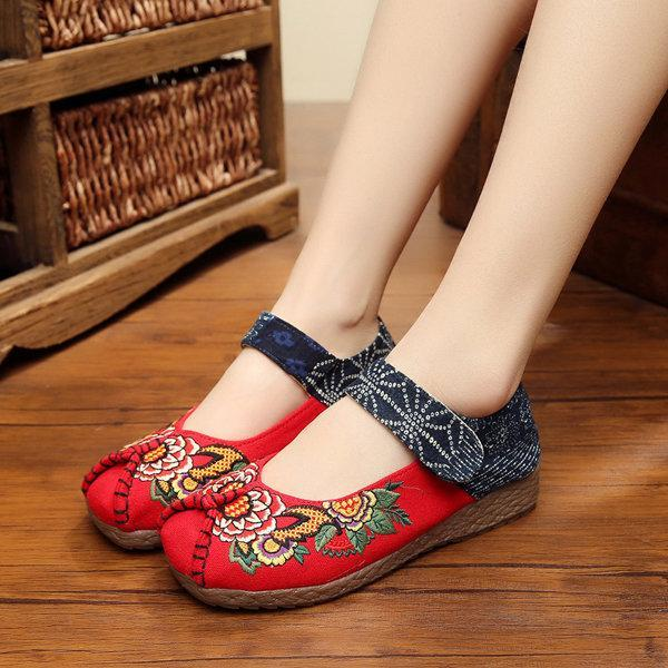 Peony Embroidered Old Peking Hook Loop Flat Shoes