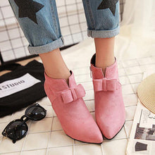 Load image into Gallery viewer, Big Size Butterfly Knot Wedge Heel Zipper Platform Ankle Boots