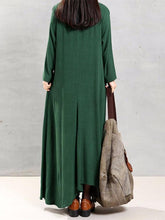Load image into Gallery viewer, Women Vintage Cotton Tunic Loose Large Size Long Sleeve Maxi Dress