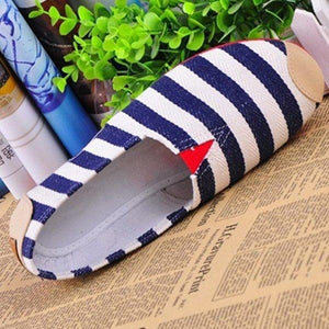 Stripe Canvas Flat Slip On Loafers