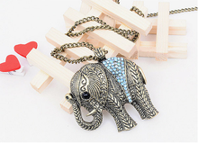 Load image into Gallery viewer, Fashion Western vintage elephant necklace jewellery Sweater Chain