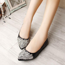 Load image into Gallery viewer, Big Size Rhinestone Crystal Pointed Toe Flat Office Lady Shoes
