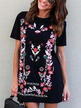 Load image into Gallery viewer, Women Floral Short Sleeve Boho Black Mini Dress