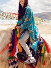 Load image into Gallery viewer, Tibet Nepal Sun Flower Thick Imitation Cashmere Shawl Scarf Cloak