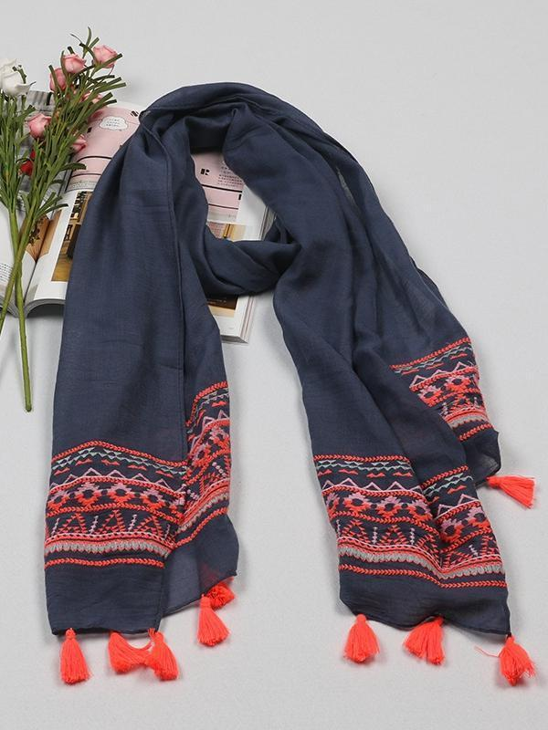 Ethnic Style Vintage Cotton Embroidery Sunscreen Shawl Scarf