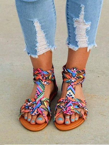Bohemian Female Colorful Lace Sandals
