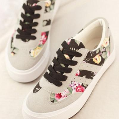 Women s Simple Preppy Style Floral Sneakers