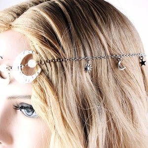 Vintage Hair Accessories Head Chain Double Moon Star Hair Jewelry