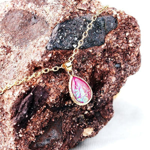 Natural Lava Gem Stone Necklace Colorful
