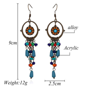 Bohemian long acrylic beads tassel drop earrings jewelry for women