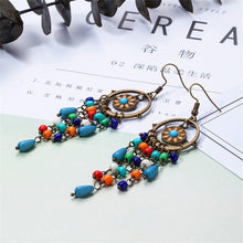 Load image into Gallery viewer, Bohemian long acrylic beads tassel drop earrings jewelry for women