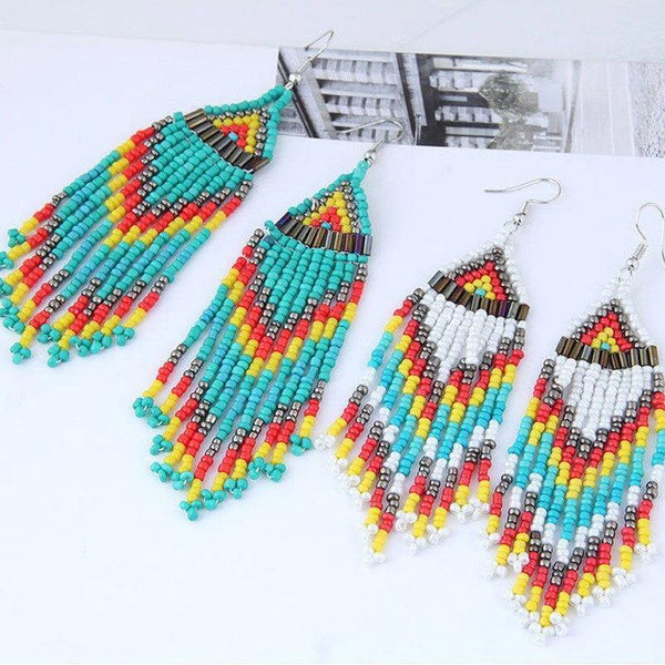 Bohemian Multicolour Seed Beaded Drop Dangle Earrings