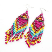 Load image into Gallery viewer, Bohemian Multicolour Seed Beaded Drop Dangle Earrings