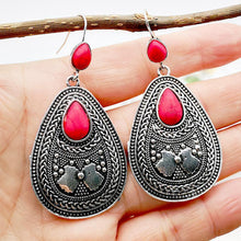 Load image into Gallery viewer, Vintage Red Stone Drop Earrings for Women