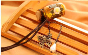 Long Leather String Of Carve Designs On Woodwork Cork Wish Bottle Necklace