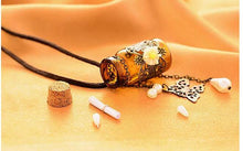 Load image into Gallery viewer, Long Leather String Of Carve Designs On Woodwork Cork Wish Bottle Necklace