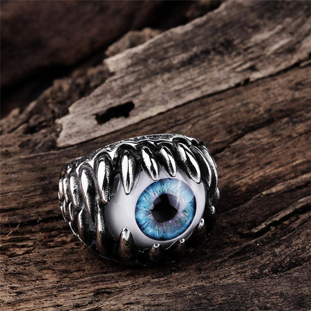Gothic Evil Eye Ball Design Charm Ring Jewelry For Men