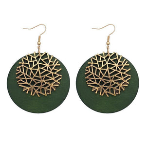 Woman New Design Accessories for Wooden Round Zinc Alloy Snowflake Pendant Earrings