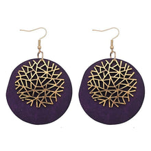 Load image into Gallery viewer, Woman New Design Accessories for Wooden Round Zinc Alloy Snowflake Pendant Earrings