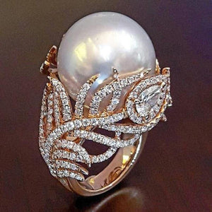 Trendy Simulated Pearl Leaf Rose Gold Rings for Women Jewellery