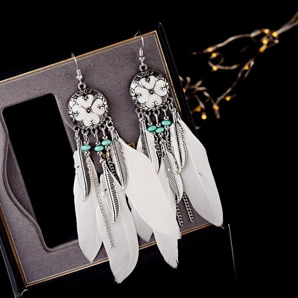 Boho Feather Earrings Tibetan Jewelry Brincos Tassel Drop Earrings