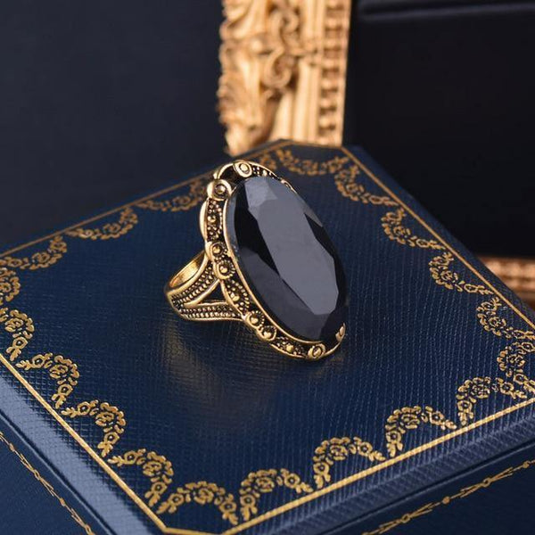 Vintage Big Black Oval Stone Rings For Women Antique Silver Gold Color Jewelry